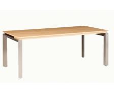 Bureau pieds métal sans voile de fond SLIVER, largeur : 190 cm - Finition chêne/blanche brillante