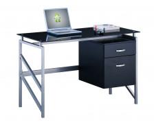 Bureau en verre - SHINE - Noir - Largeur 117 cm