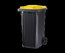 Poubelle conteneur 2 roues - CEP - 240 litres - Gris/jaune