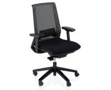 Chaise Ergo compact - TOP OFFICE - Tissu - Noir