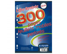 300 pages feuilles mobiles A4 21x29,7 cm - CALLIGRAPHE - Grands carreaux