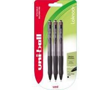 Lot de 3 stylos bille retractables Laknock - UNI BALL - Noir