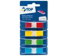 140 notes adhésives repositionnables marques-pages - TOP OFFICE - Avec support - 12x45 mm