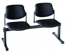 Chaises de salle d'attente - 2 places - L129.5 x H80 cm - Tissu - Noir