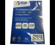50 enveloppes blanches - TOP OFFICE - C6 - Fermeture auto-adhésive - 80g