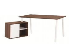 Bureau + console gauche - XERUS - 160 cm - Chêne