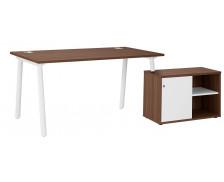 Bureau + console droit - XERUS - 160 cm - Chêne