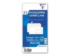 Lot de 25 enveloppes blanches à fenêtres - CLAIREFONTAINE - DL - 110x220 - 80g