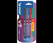 Lot de 4 stylos rollers V5 - PILOT - 4 couleurs