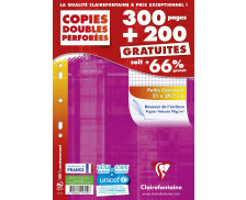 500 pages copies doubles perforées CLAIREFONTAINE - 300 pages + 200 Gratuites - 5x5