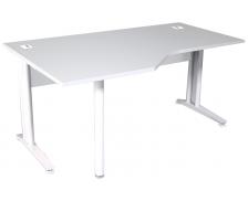 Bureau plan compact gauche pieds L métal - TOP - L160 - Finition gris