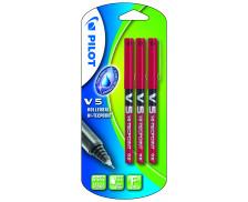 Lot de 3 stylos rollers V5 - PILOT - Rouge