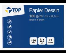 Pochette de 12 feuilles dessin à grain - TOP OFFICE - A4 - 180g