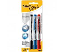 Lot de 3 marqueurs effaçables Velleda - BIC - Pointe ogive medium - 3 couleurs