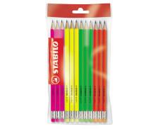 Set de 12 crayons Graphite Grafito bout gomme - STABILO - Assortiment de couleurs
