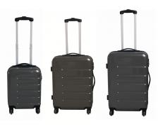 Lot 3 valises en ABS brillant  - 40 cm 50 cm 60 cm - Gris
