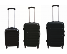 Lot 3 valises en ABS brillant  - 40 cm 50 cm 60 cm - Noir