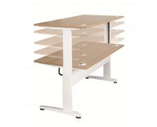 Bureau assis debout 160 cm - TOP OFFICE - Réglable électriquement - Blanc/Merisier
