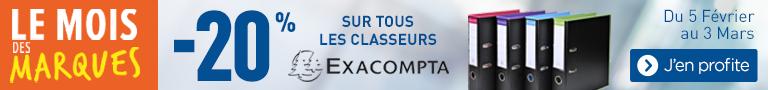 20% classeurs EXACOMPTA